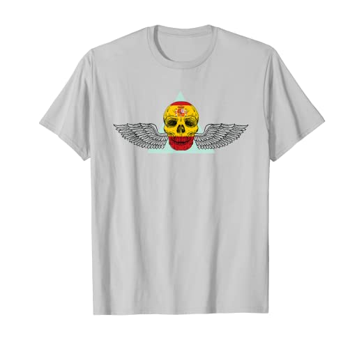 Camiseta de patriotas Calavera con Bandera de españa y Alas Camiseta: Amazon.es: Ropa y accesorios