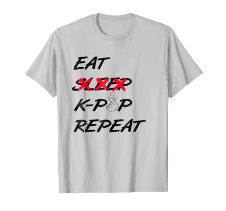 52b125a1f Amazon.com  Eat Never Sleep K-Pop Repeat T-Shirt Cool Graphic K-Pop ...