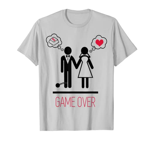 cdd763c2 Amazon.com: Funny Gamer Game Over Bachelor Party Shirt: Clothing