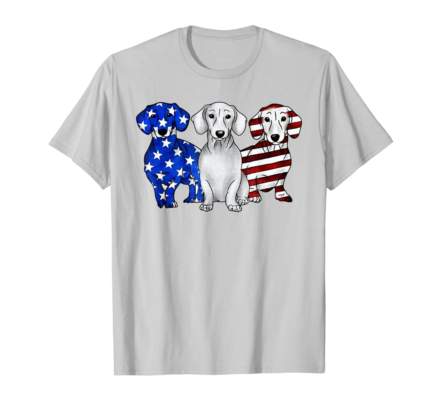 3 Dachshund Doxie Patriotic US American Flag July 4th Shirt T-Shirt-ANZ