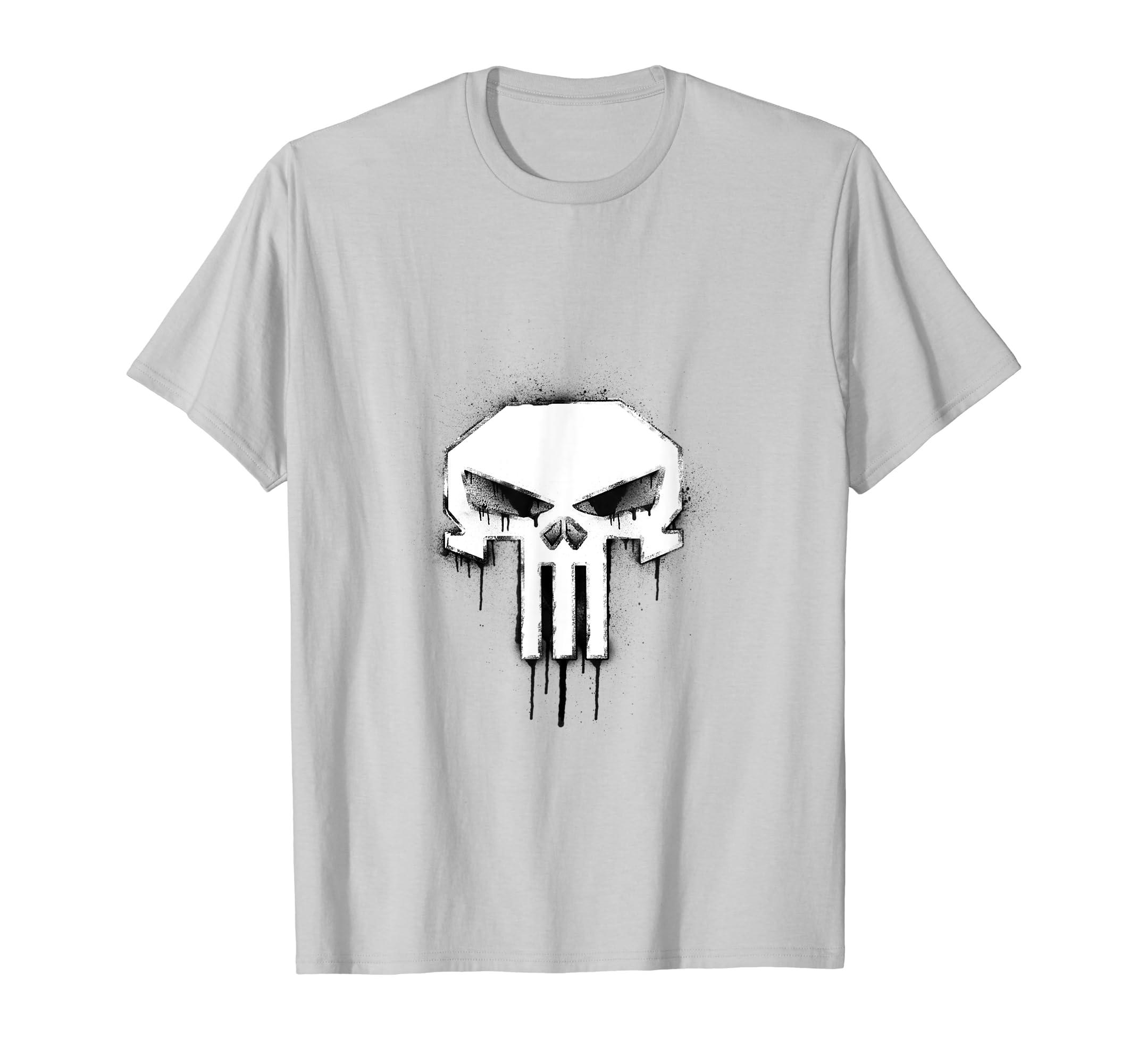 126a472ce Amazon.com: Marvel The Punisher Skull Logo Dripping Spray Paint T-Shirt:  Clothing