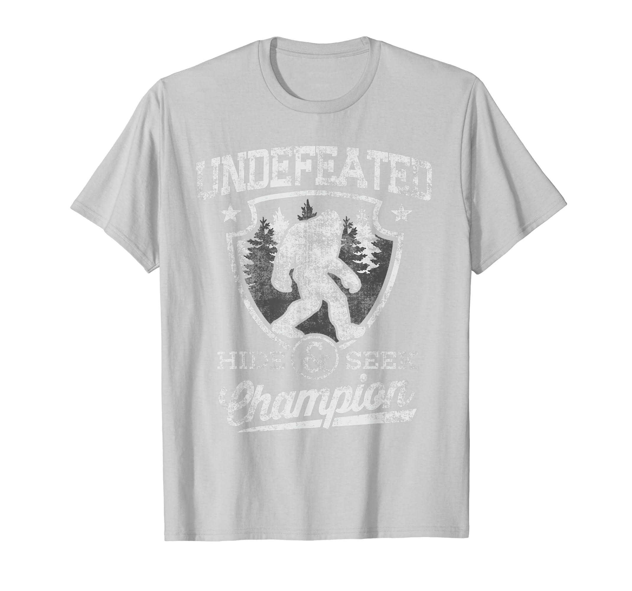 ab3d8c9ec Amazon.com: Bigfoot Clothing Undefeated Hide & Seek Sasquatch Yeti Gift T- Shirt: Clothing