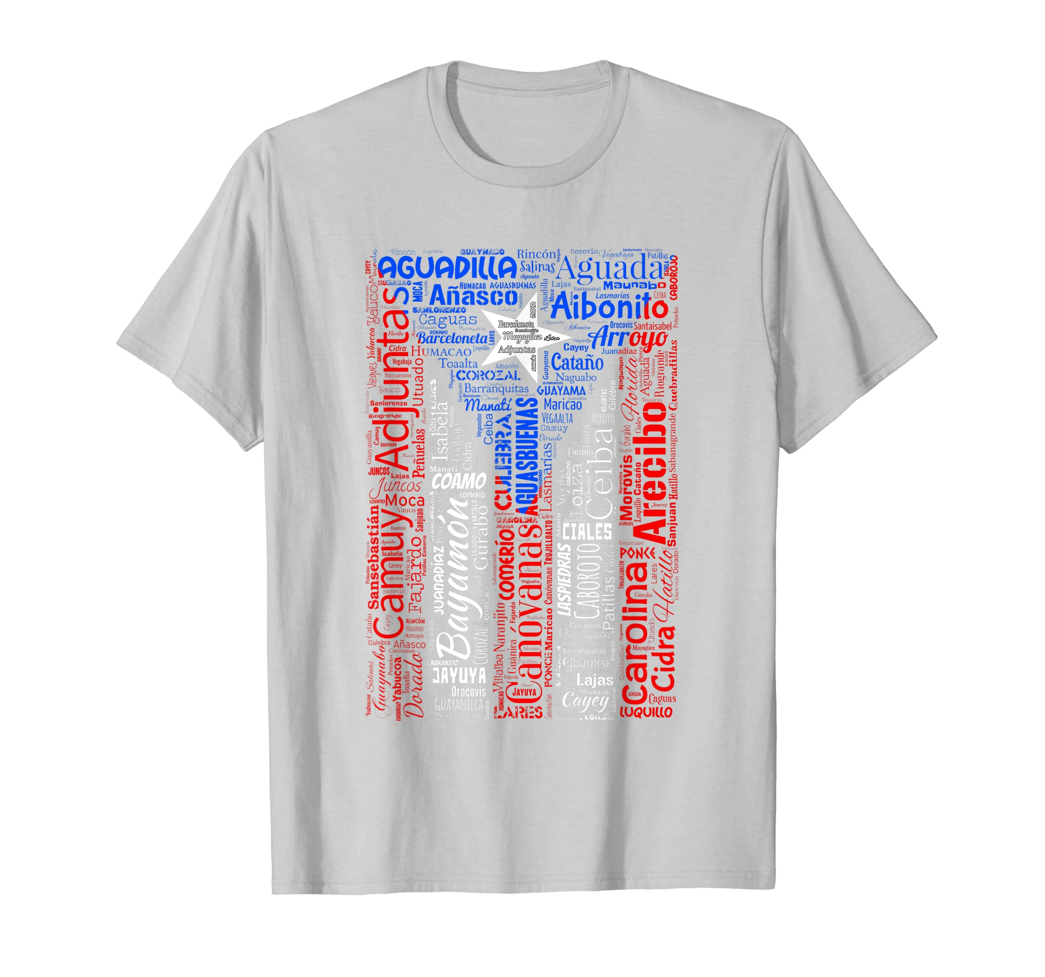 Amazon.com: Puerto Rican Flag Shirt with Towns and Cities of Puerto Rico: Clothing