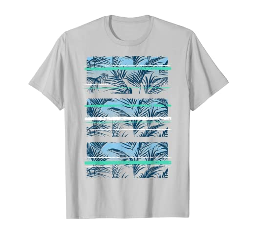 8faff5845019 Image Unavailable. Image not available for. Color: Palm Leaves Teal Aqua  Stripes Streetwear Graphic T-Shirt