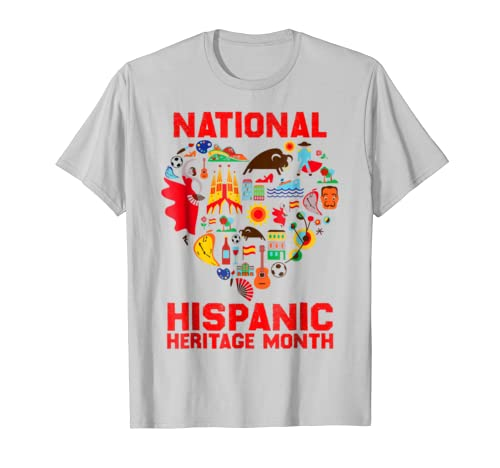 National Hispanic Heritage Month T-Shirt Spain Heart Tee