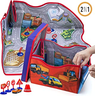 Prextex 2-in-1 Convertible Toy Cars Storage Bin with Toy Car Play Mat