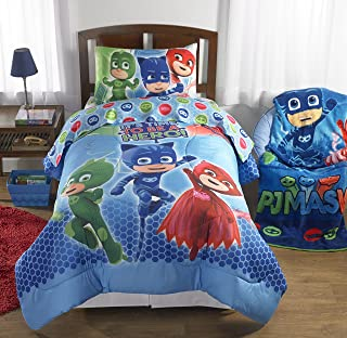 Super Soft and Cute, PJ Masks Reversible Bed in a Bag Bedding Set, Blue/Multicolor, Twin, Makes a Great Gift