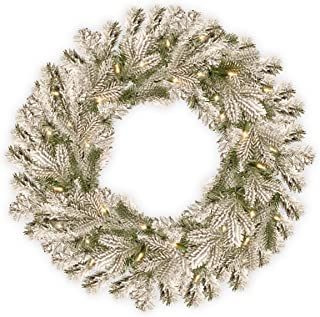 National Tree Pine 24 Inch Feel Real Snowy Sheffield Spruce Wreath