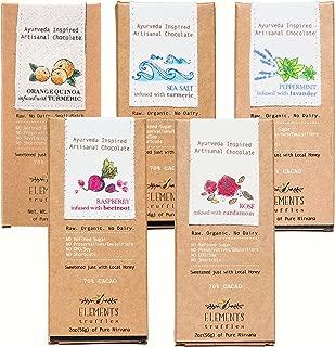 Elements Truffles Sampler Pack - Dairy Free Chocolate Bar - Gluten Free, Non-GMO, Raw & Organic Chocolate Bar - Ayurveda Inspired Healthy Chocolate Bar - Raspberry, Orange, Sea Salt, Lavender & Rose