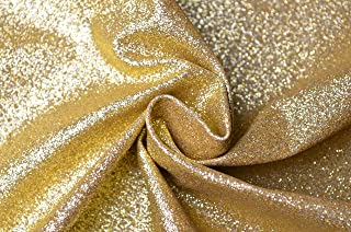 WENTO Shiny Champagne Gold Glitter Fabric for Patchwork DIY Craft,Glitter Fabric for Wallets Purses Making,Cell Phone Covers,Jewelry Making,54'' Wide,sold By Half Yard (21 Champagne Gold)