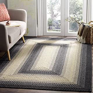 Safavieh Braided Collection BRD311A Hand Woven Black and Grey Area Rug (8' x 10')