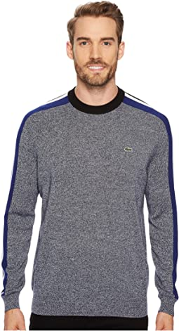 Mouline Jersey & Jacquard Wool Blend Sweater with Stripes On Sleeve