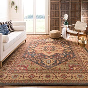 SAFAVIEH Mahal Collection MAH656E Traditional Oriental Non-Shedding Living Room Bedroom Dining Home Office Area Rug, 10' x 14', Navy / Natural