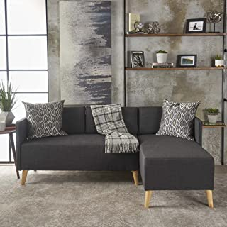 Christopher Knight Home Andresen Mid Century Modern Fabric Chaise Sectional, Muted Dark Grey/Natural