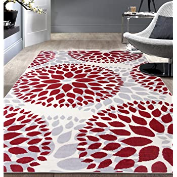 """Modern Floral Circles Design Area Rugs 7'6"""" X 9' 5"""" Red"""