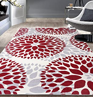 Modern Floral Circles Design Area Rugs 7'6 X 9' 5