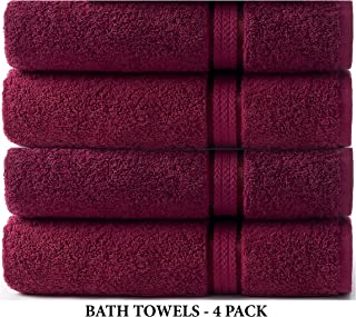 Cotton Craft Ultra Soft 4 Pack Oversized Extra Large Bath Towels 30x54 Burgundy Weighs 22 Ounces - 100% Pure Ringspun Cotton - Luxurious Rayon Trim - Ideal for Everyday use - Easy Care Machine wash