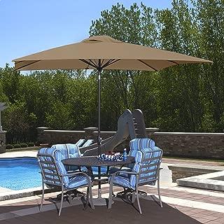 Island Umbrella NU5448ST Caspian Rectangular Market Umbrella, 8' x 10', Stone Olefin