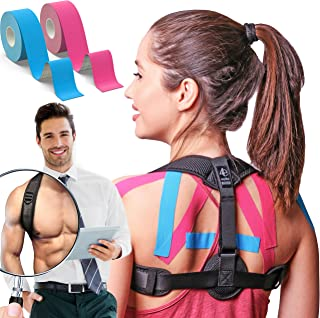 Posture Corrector for Women and Men | Improve Bad Posture | Front Adjustable Clavicle Brace | Back Brace for Posture Correction | 2 Kinesiology Tapes Included by My Way Fitness