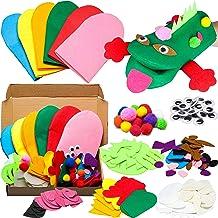 WATINC 6Pcs Hand Puppet Making Kit for Kids Art Craft Felt Sock Puppet Creative DIY Make Your Own Puppets Pompoms Wiggle G...