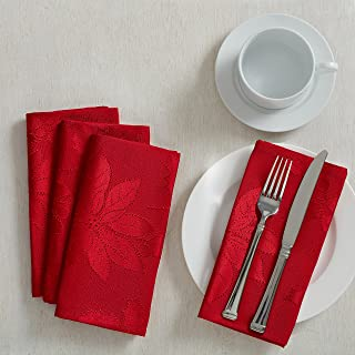 Poinsettia Legacy Damask Christmas Tablecloth (Red, 18