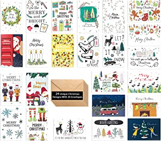 24 Unique Christmas Cards - Beautiful Christmas Cards in 24 Hand Drawn Designs - Merry Christmas Greetings Cards - Assorted Christmas Cards - Joyful Christmas Cards With 24 Envelopes, 4 x 6 Inch