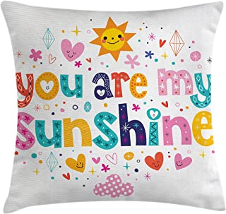 Ambesonne Saying Throw Pillow Cushion Cover, Love Text Print Made by Fun Happy Animal and Heart Kids Nursery Theme, Decorative Square Accent Pillow Case, 24