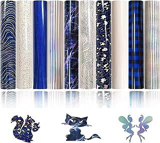 "ZAIONE Blue Holographic Laser Heat Trasnfer Vinyl HTV Bundle 10 Pack 12"" x 10"" Sheets Blue Animal Glitter Lightning Printe..."