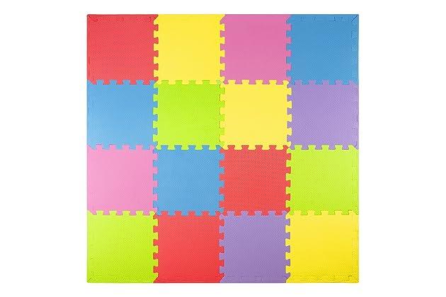 Foam Play Mats (16 Tiles + Borders) Safe Kids Puzzle Playmat | Non-Toxic Interlocking Floor Children & Baby Room Soft EVA Thick Color Flooring Square Babies ...