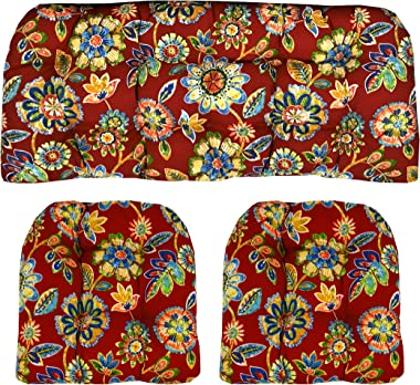 Indoor/Outdoor Wicker Cushions Two U-Shape and Loveseat 3 Piece Set Daelyn Cherry Red with Blue Yellow, Green Floral
