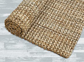 Iron Gate Handspun Jute Area Rug 6x9 Hand Woven by Skilled Artisans, 100% Natural Jute Yarns, Thick Ribbed Construction, R...