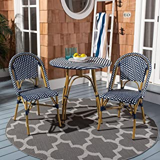 Safavieh FOX5210F-SET2 Collection Salcha Navy, White Light Brown Indoor/Outdoor French Bistro Stacking Side Chair