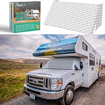 LATCH.IT RV Windshield Cover Class C | RV Front Windshield Cover Class C Compatible with Ford 1997-2020 | Class C Motorhome Windshield Cover w/ Upgrade Mirror Cutouts and Elastic Corner Bands: image