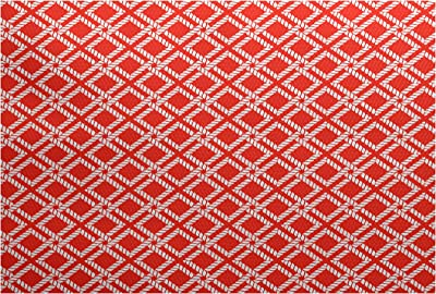 E by design RGN408OR13-35 3 x 5-ft, Rope Rigging, Geometric Rug, Red-Orange