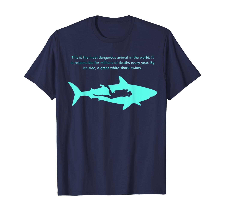 Dangerous Animal Scuba Diver T-Shirt Great White Shark Tee