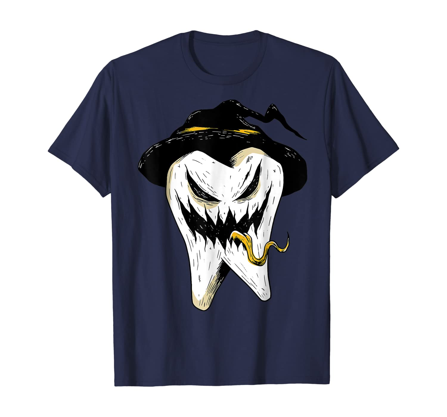Funny Dentist Halloween Scary Tooth Witch Dental Hygienist T-Shirt