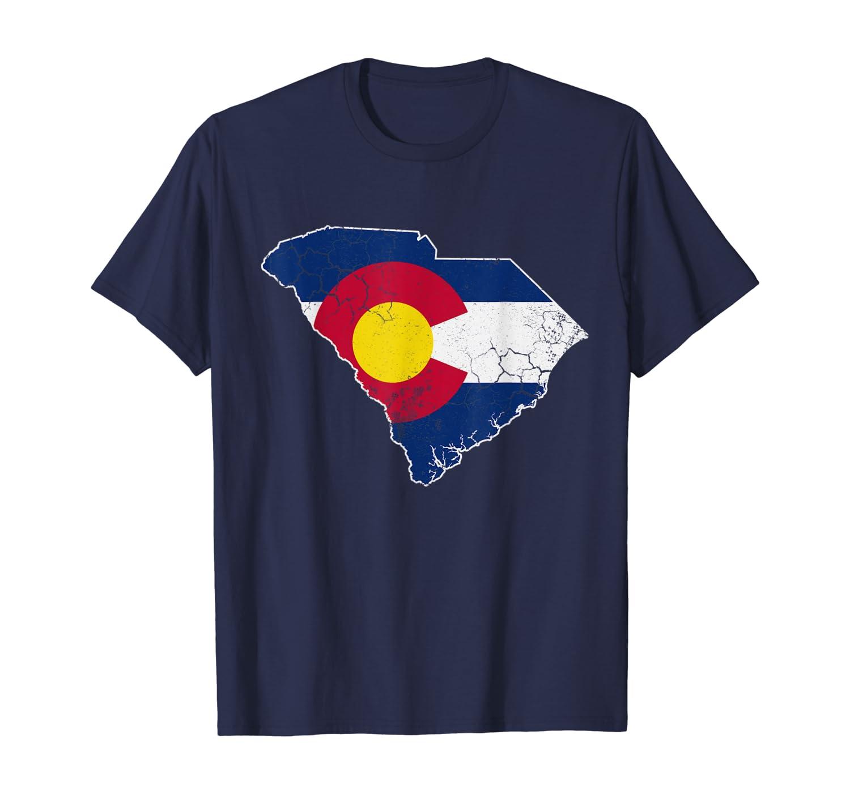 Colorado Flag South Carolina Home Love Family Vacation T-Shirt