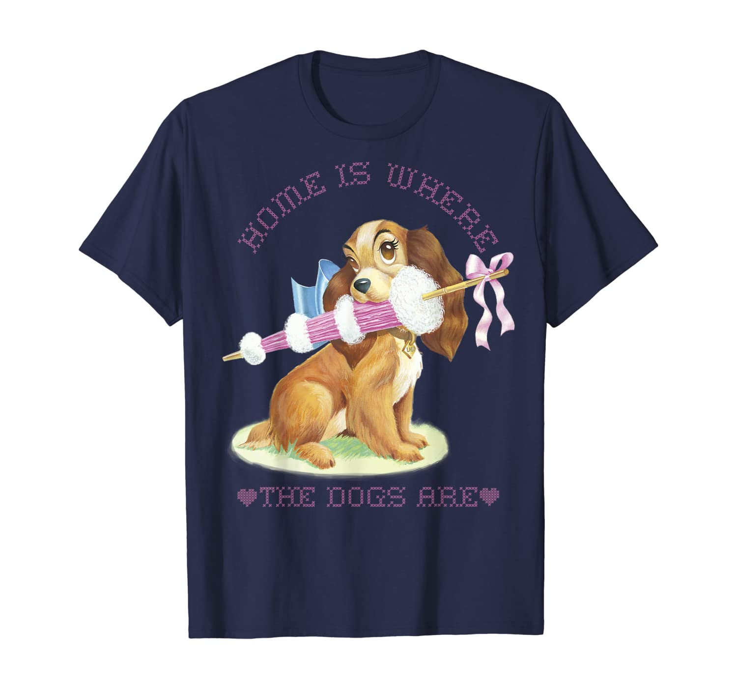 Disney Lady And The Tramp Lady Home Is Where The Dogs Are T-Shirt