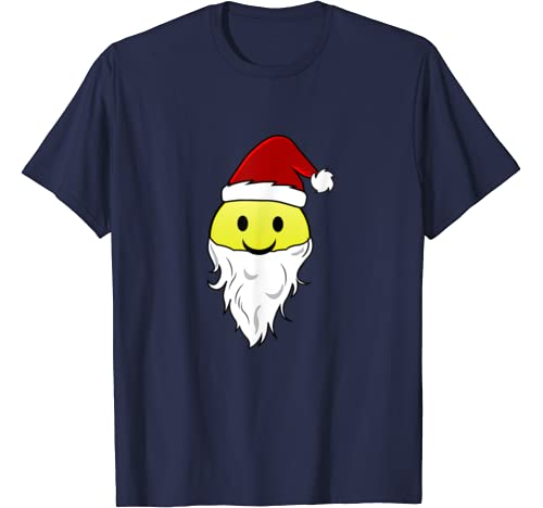 Santa Claus Emojis With Hat And White Beard Christmas T Shirt
