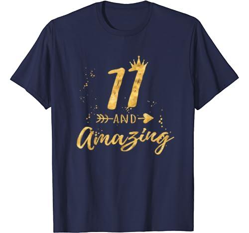 Amazon.com: 11o cumpleaños camisa para niña, 11 y increíble ...