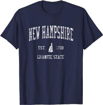 New Hampshire T-Shirt Vintage Sports Design NH Tee
