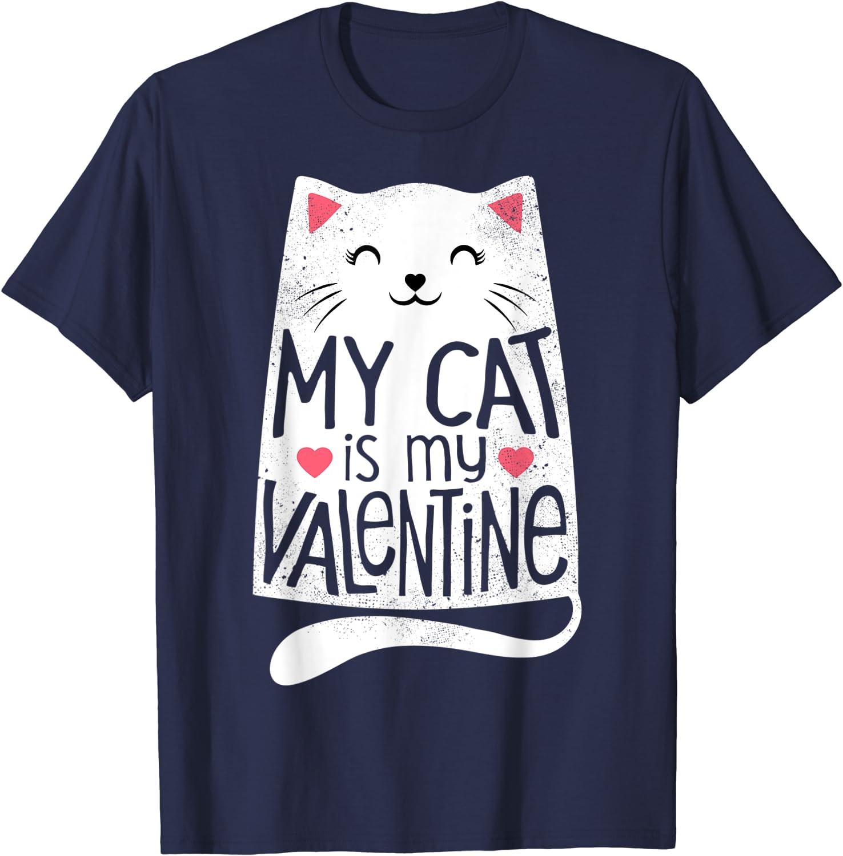 Details about  /My Cat My Valentine Women/'s White T-shirt Funny Valentine Gift Idea