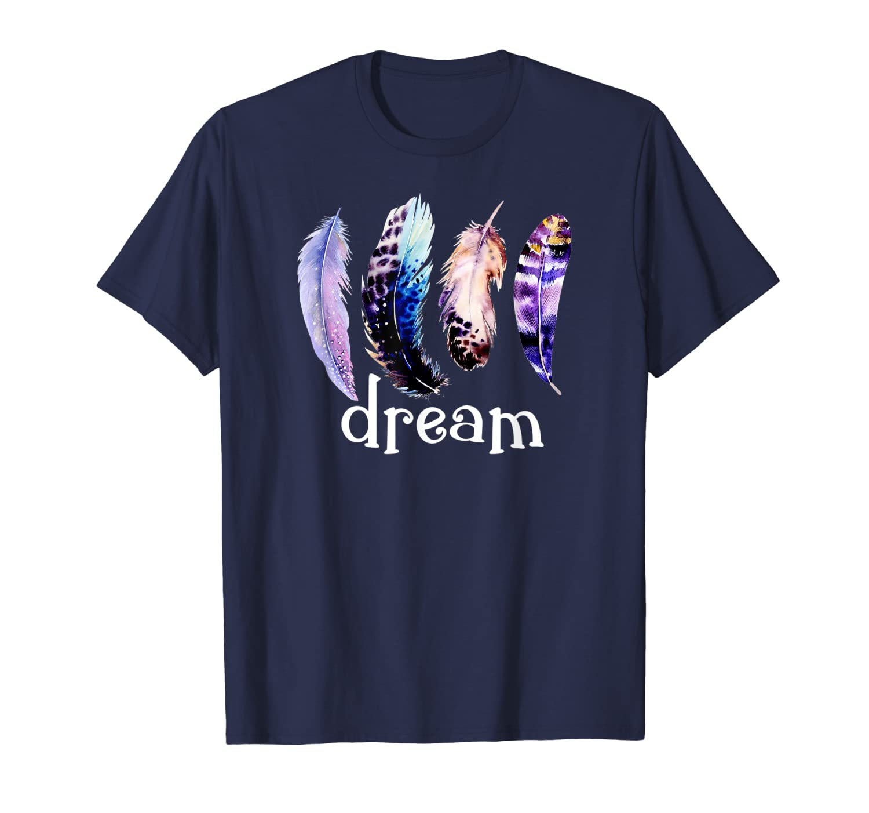 Dream Pretty Blue Purple Feathers T-Shirt-ANZ
