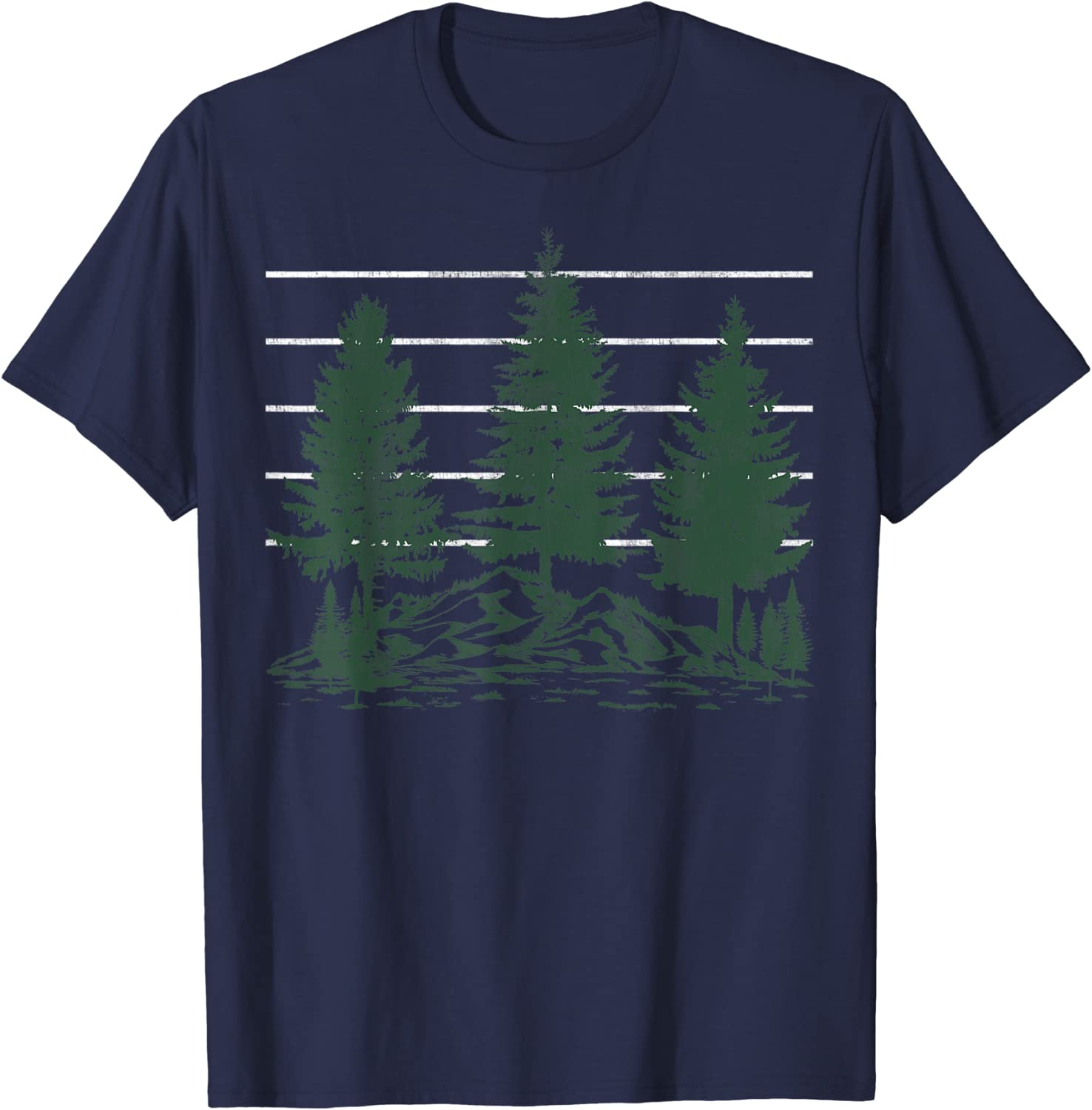Three Pine Trees Get Outdoors Forest Vintage T-Shirt