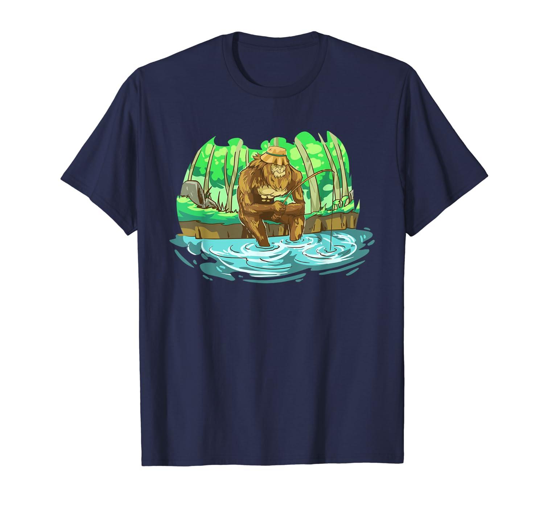 Funny Fishing Bigfoot Sasquatch T-Shirt for Men and Kids Hoodie Tshirt