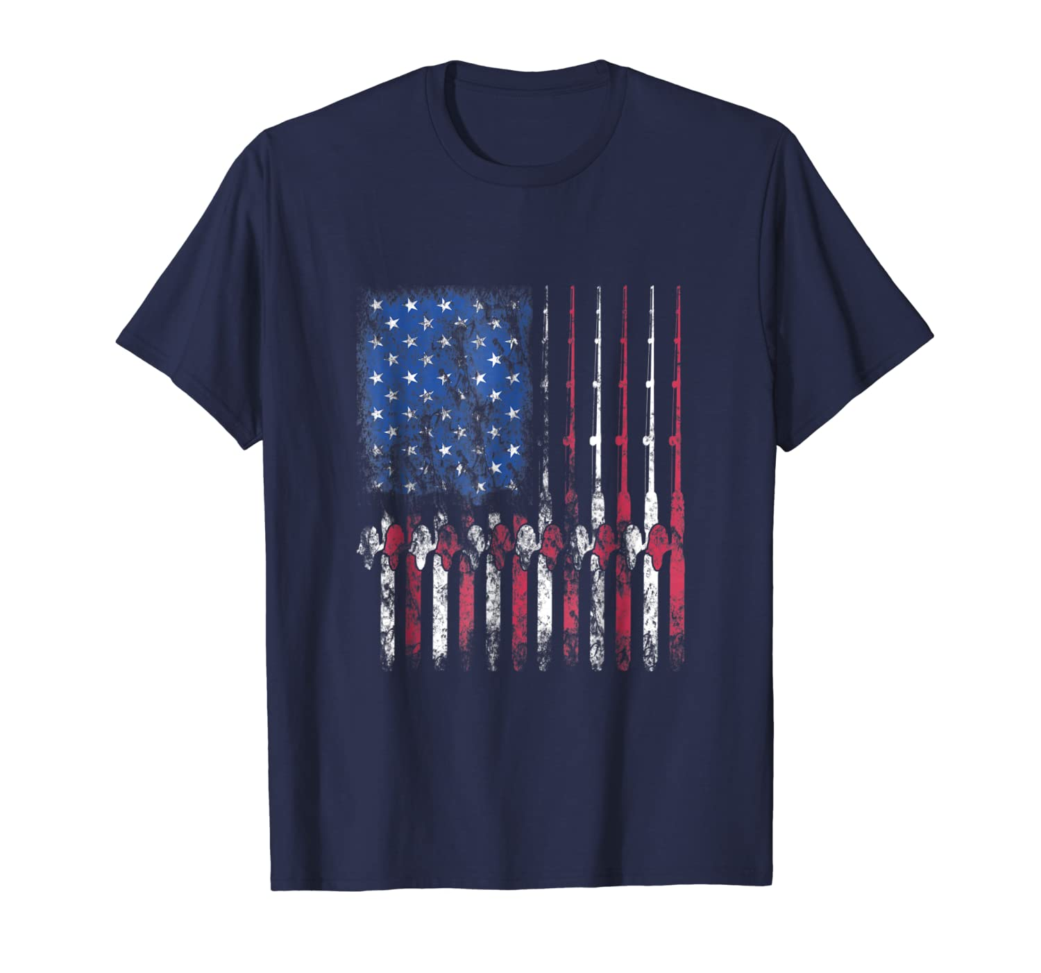 Fishing America T-Shirt American Flag Fisherman Fish Gift Hoodie Tshirt