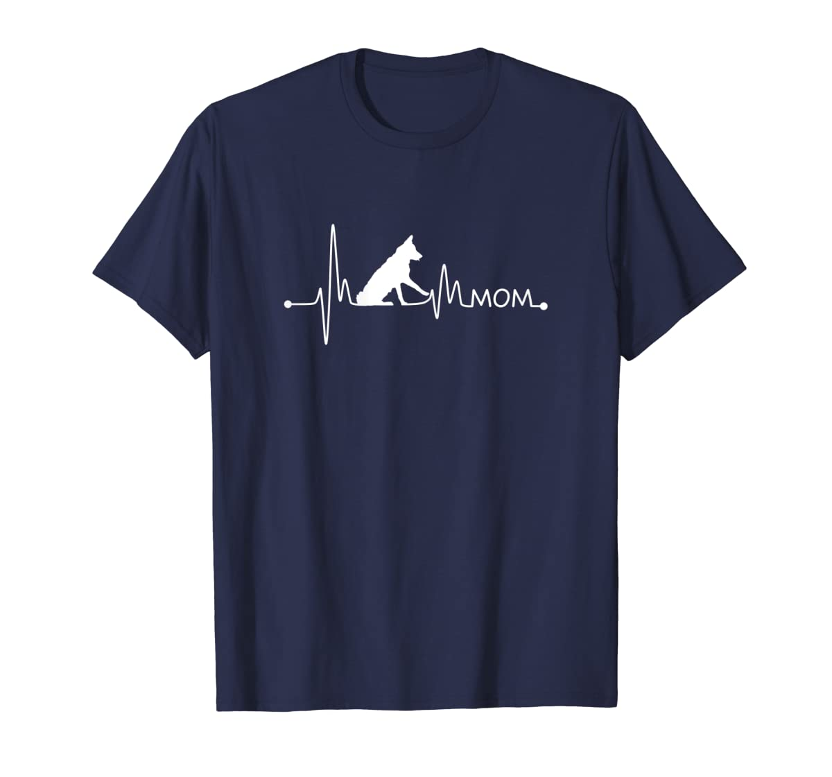 Womens Border Collie Heartbeat Mom Shirt Ekg Pulse Collie Lover Tee-Men's T-Shirt-Navy