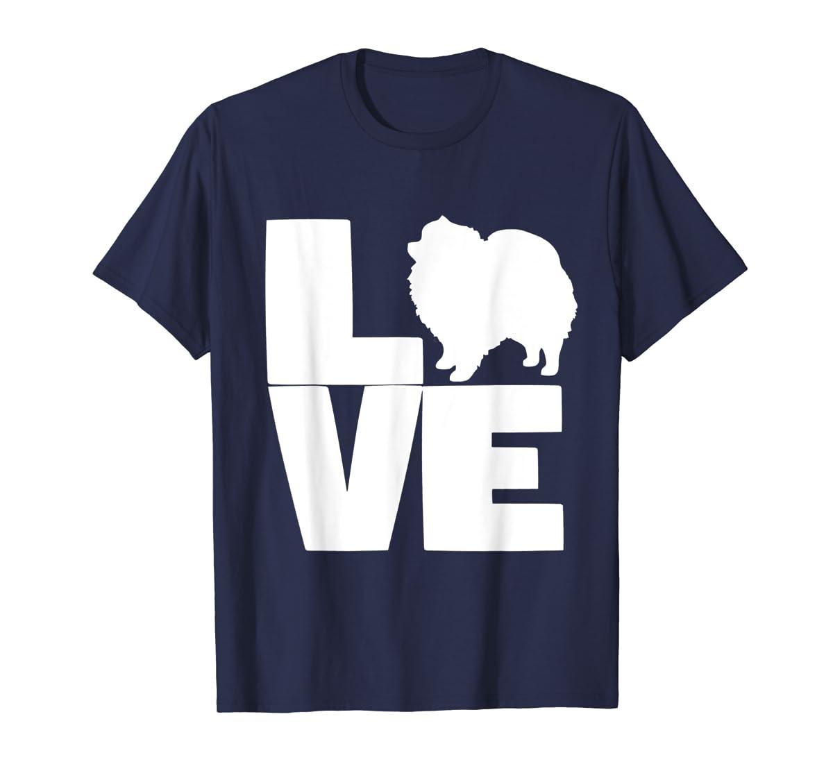 I Love Pomeranians Pom Mom or Dad Pet Lover T Shirt-Men's T-Shirt-Navy