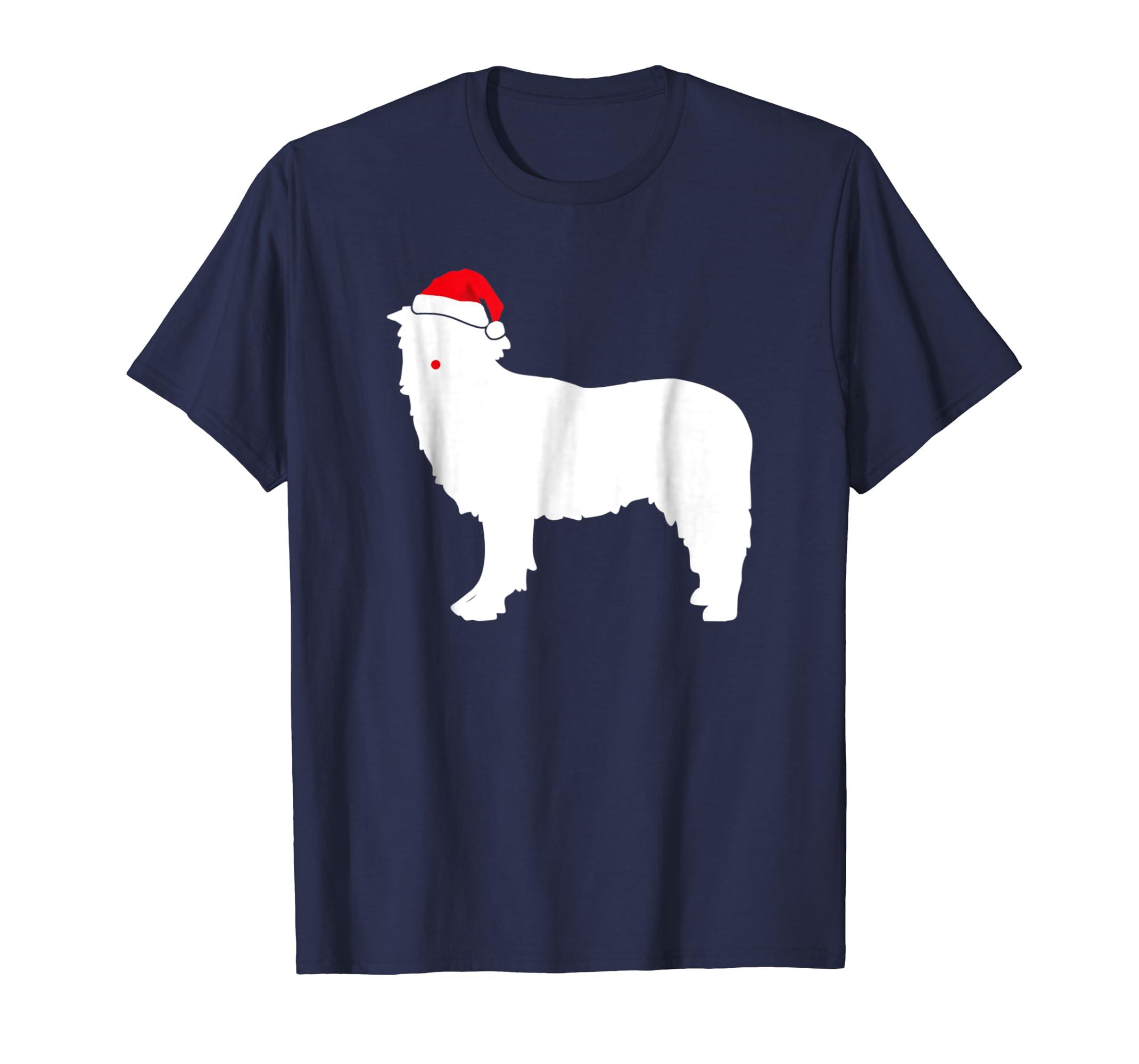 Border Collie Dog Santa Hat Christmas T Shirt-azvn