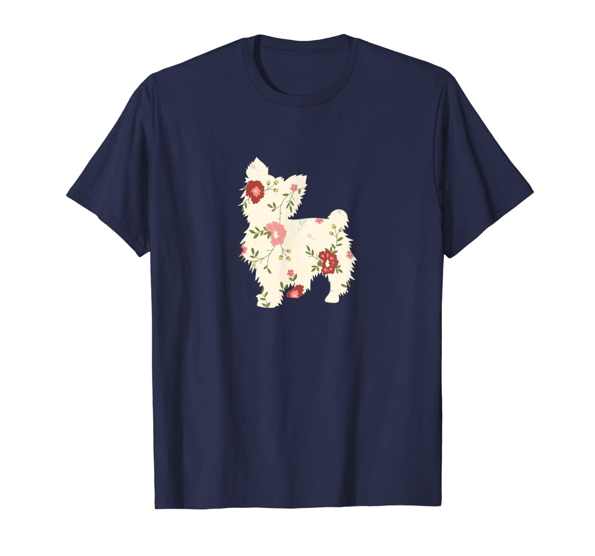 Yorkshire terrier Floral Vintage Dog Flower T-Shirt Gift Mom-Men's T-Shirt-Navy